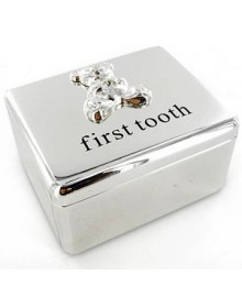 "Silver κουτάκι ""my first tooth"" in ivory box"